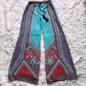 Pants - Gypsy Boho Wide Leg Palazzo Printed Pants